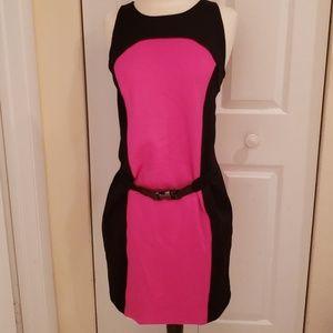 Michael Michael Kors Hot Pink/Black Scuba Dress